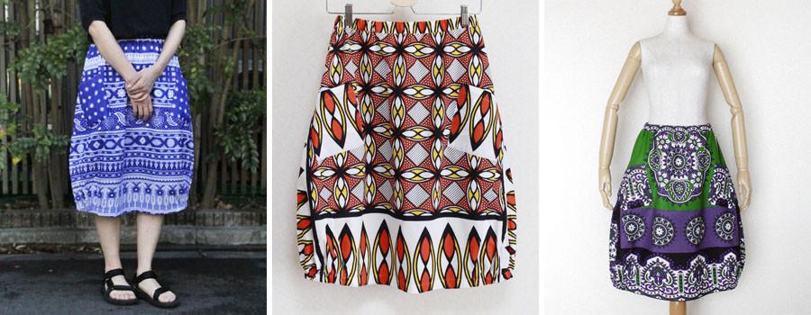 アフリカ布 スカート